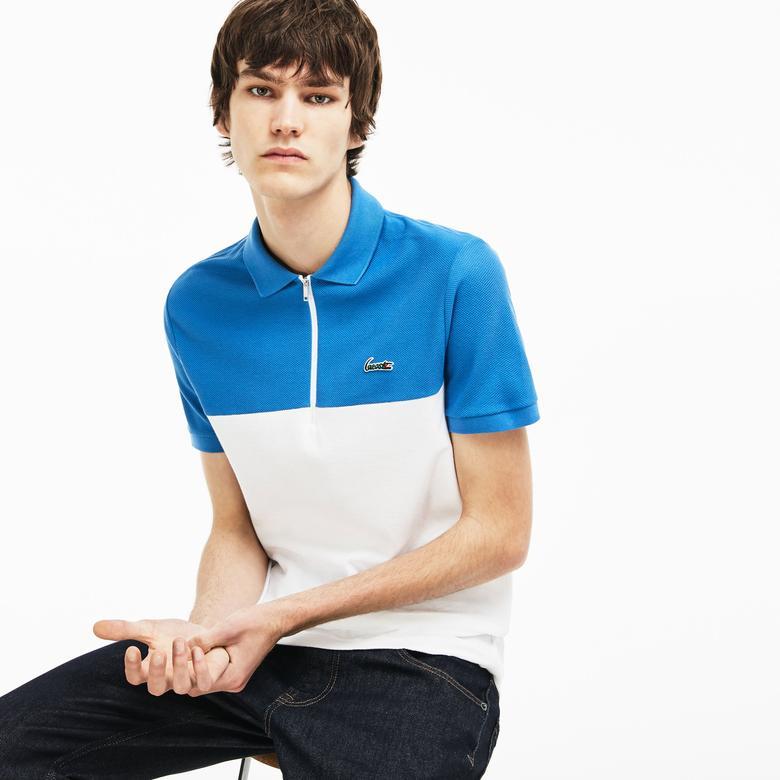 Lacoste Erkek Mavi-Beyaz Slim Fit Polo