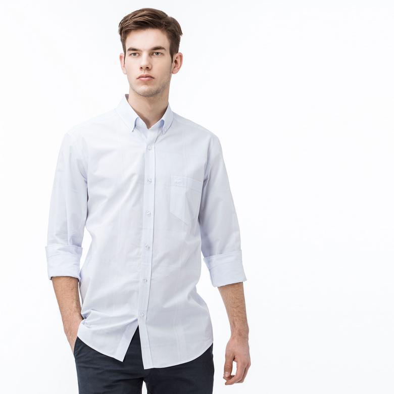 Lacoste Erkek Regular Fit Ekose Mavi-Gri Gömlek