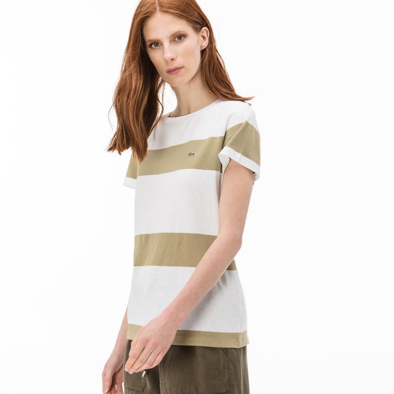 Lacoste Kadın Çizgili Yeşil-Beyaz T-Shirt