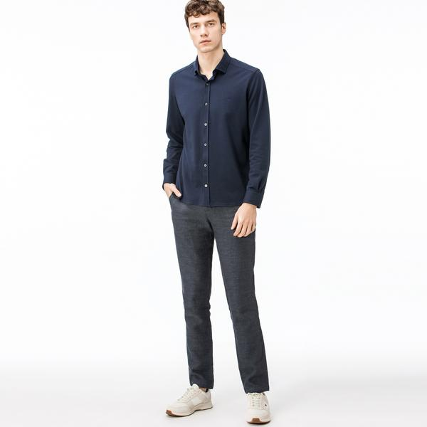 Lacoste Erkek Regular Fit Keten Lacivert Pantolon