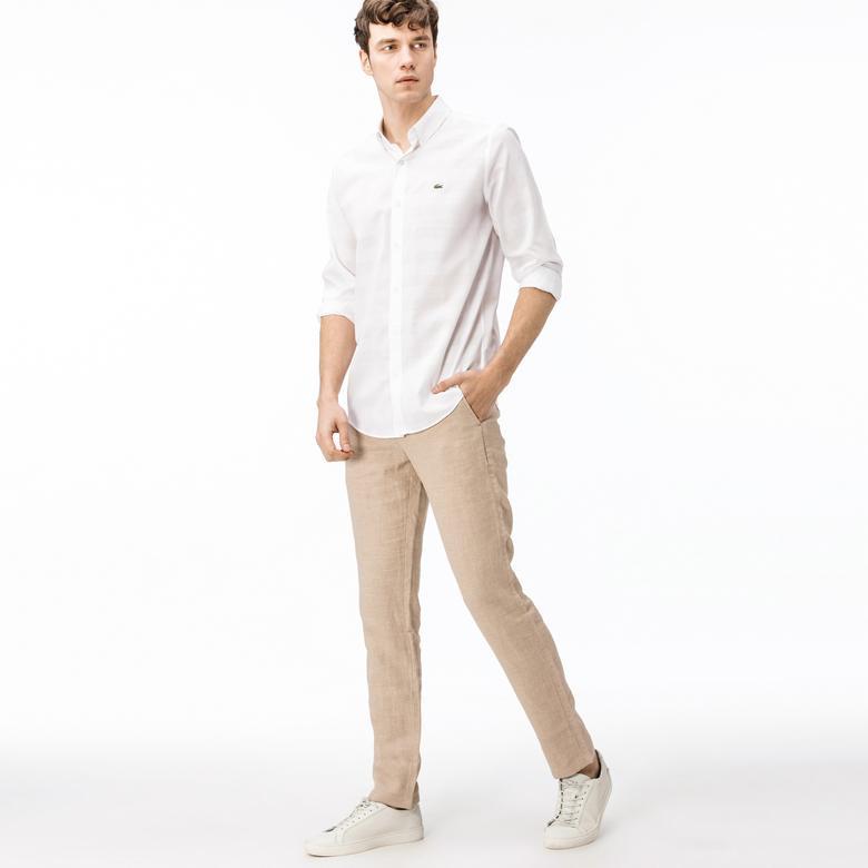 Lacoste Erkek Regular Fit Keten Bej Pantolon
