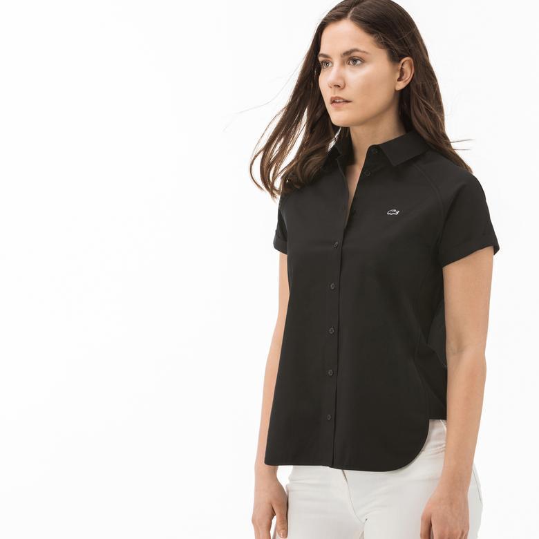 Lacoste Kadın Siyah Kısa Kollu Gömlek
