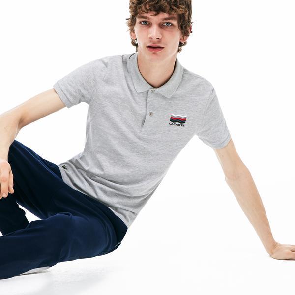 Lacoste Erkek Slim Fit Gri Kısa Kollu Polo