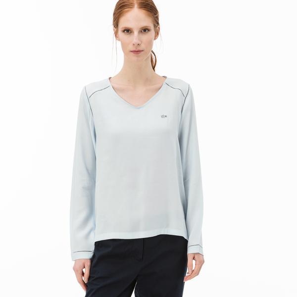 Lacoste Kadın V Yaka Mavi Bluz