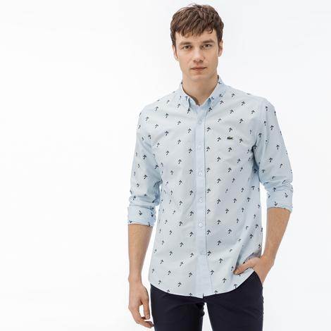 Lacoste Erkek Slim Fit Mavi-Lacivert Desenli Gömlek