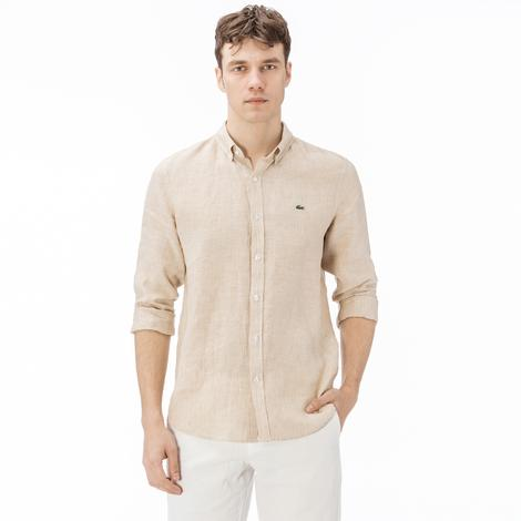 Lacoste Erkek Slim Fit Çizgili Bej Gömlek