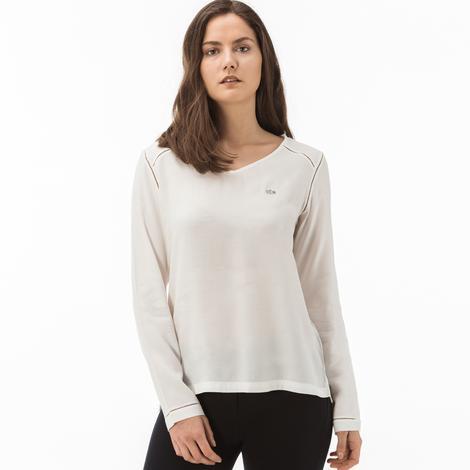 Lacoste Kadın V Yaka Ekru Uzun Kollu Bluz