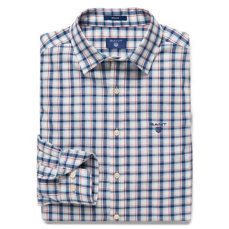 Gant Erkek Regular Fit Mavi Beyaz Kareli Gömlek