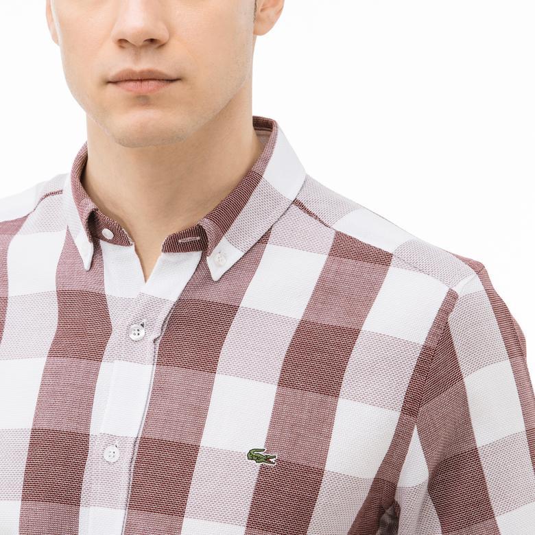 Lacoste Erkek Slim Fit Ekose Bordo-Beyaz Gömlek