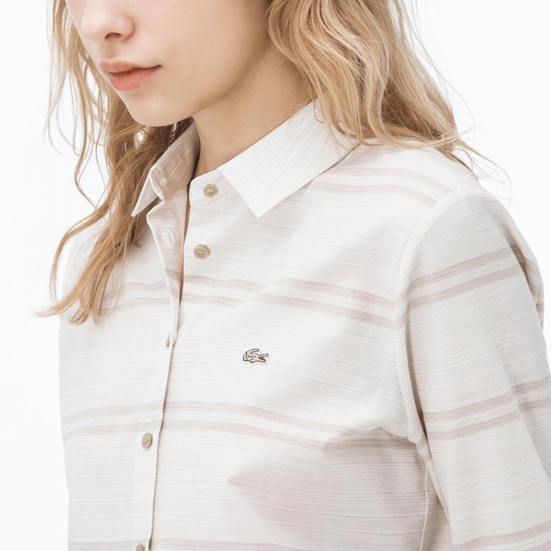 Lacoste Kadın Çizgili Kahverengi Çizgili Bej Gömlek