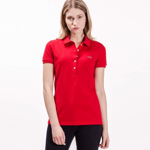 Lacoste Kadın Slim Fit Kırmızı Kısa Kollu Polo