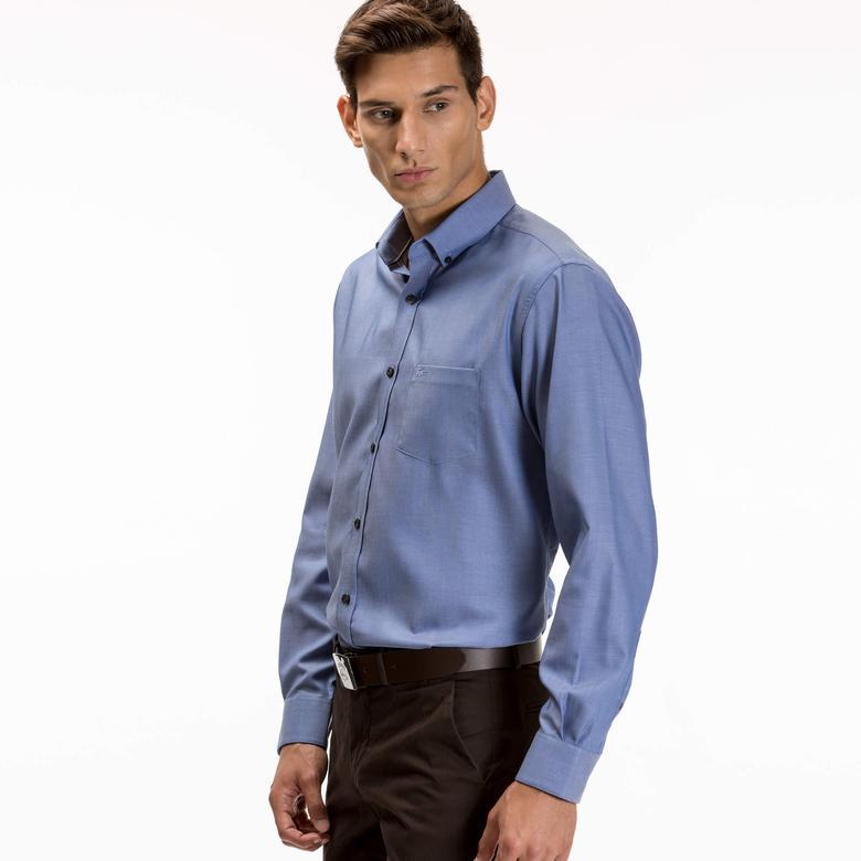 Lacoste Erkek Mavi Regular Fit Uzun Kollu Gömlek