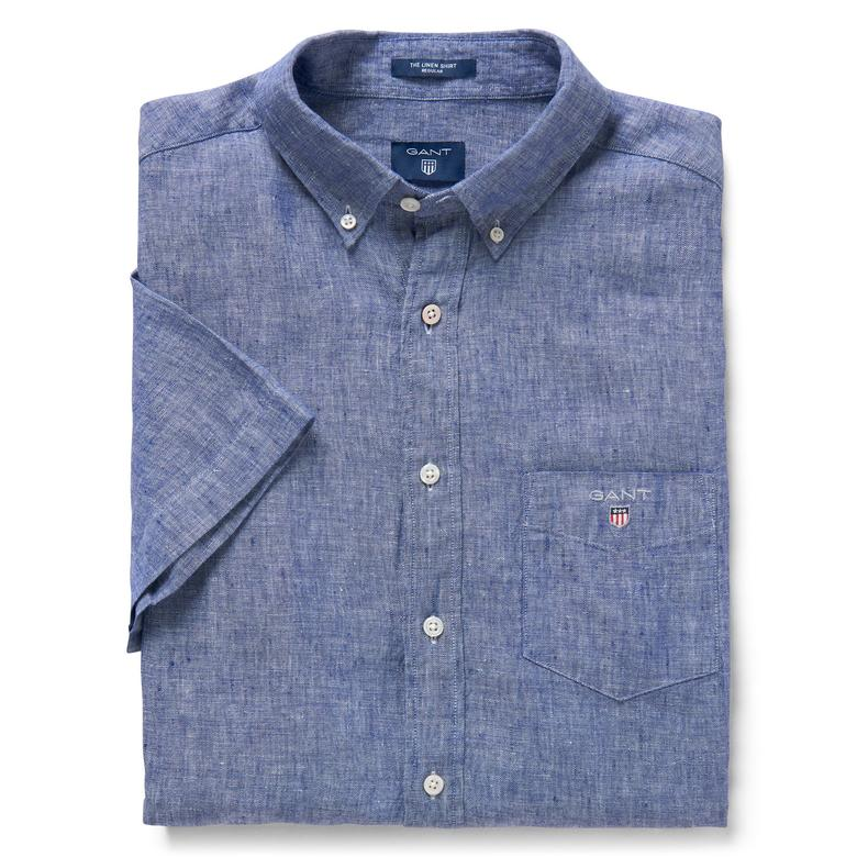 Gant Erkek Lacivert Regular Keten Kısa Kollu Gömlek