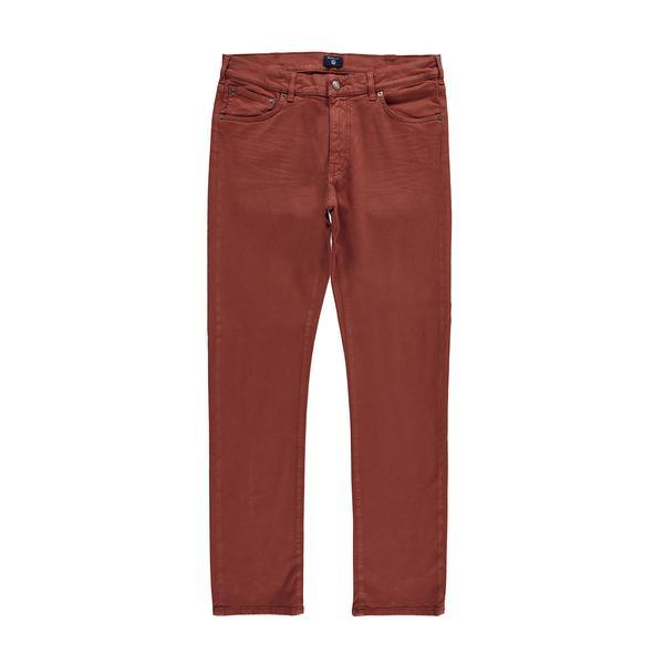 GANT Erkek Regular Fit Straight Moleskin Bordo Jeans