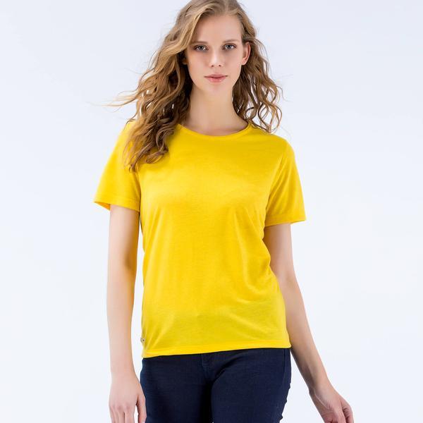 Lacoste Kadın Kısa Kollu Sarı T-Shirt