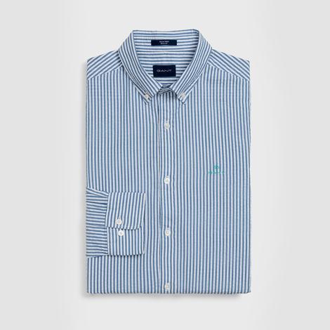 Gant Erkek Mavi Regular Fit Tech Prep Seersucker Stripe Gömlek