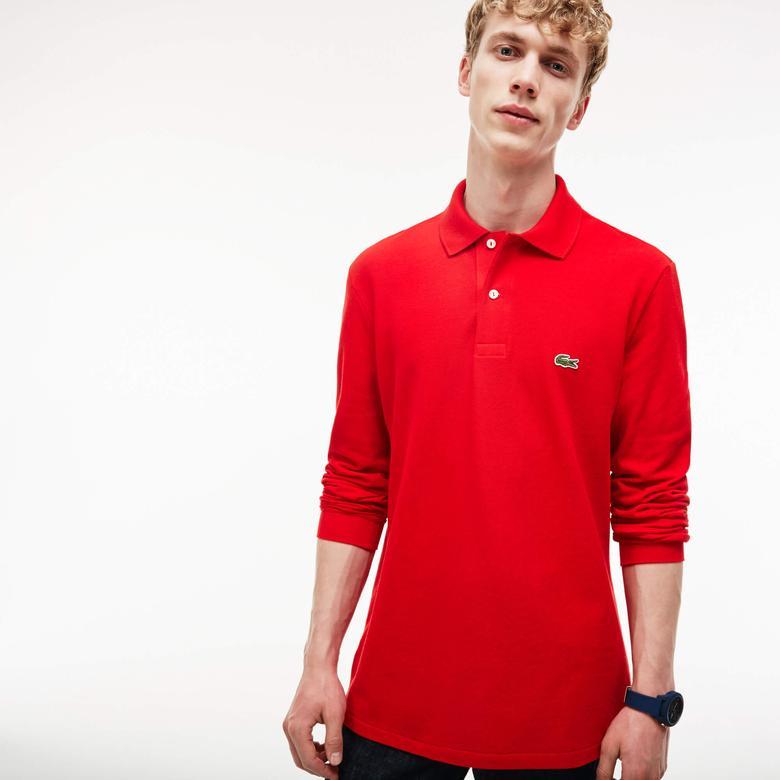 Lacoste Erkek Klasik Fit Uzun Kollu Kırmızı Polo