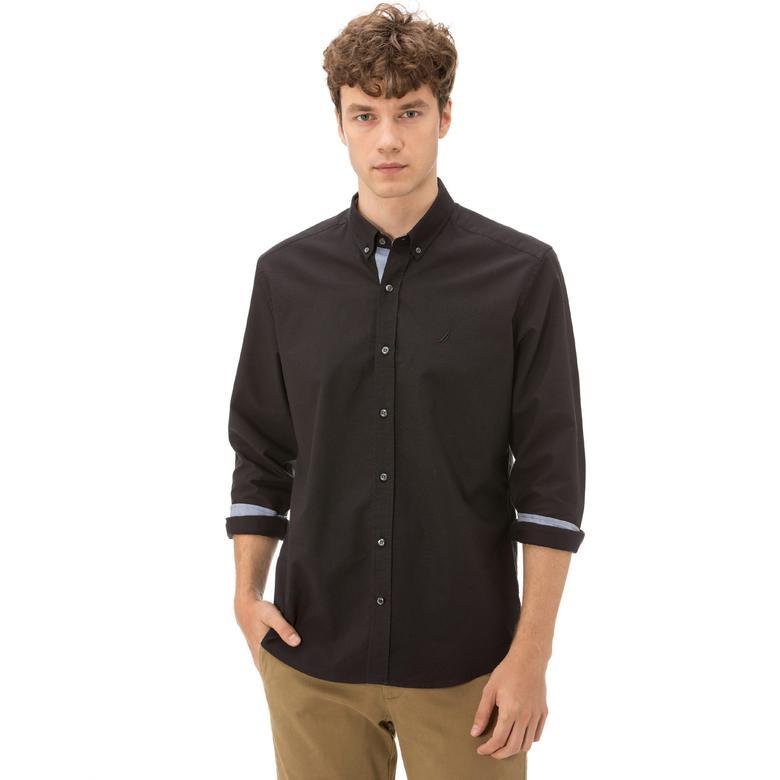 Nautica Uzun Kollu Düz Siyah Erkek Gömlek