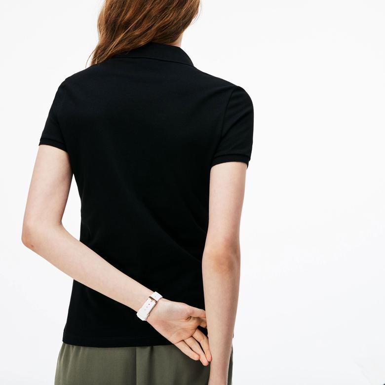 Lacoste Kadın Slim Fit Siyah Kısa Kollu Polo