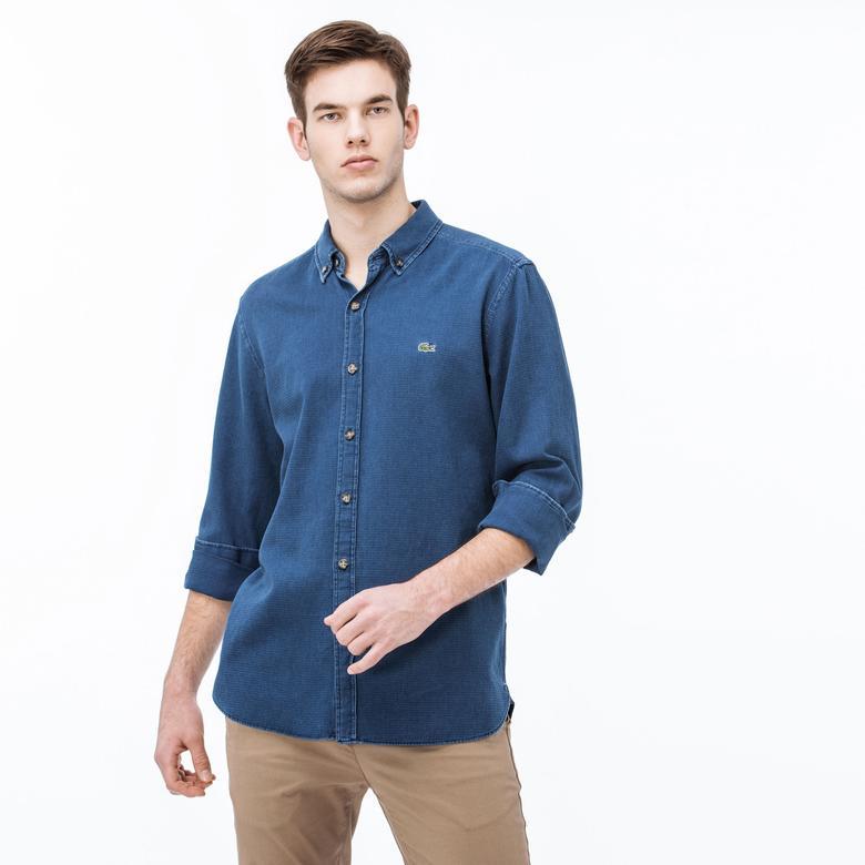 Lacoste Erkek Regular Fit Denim Mavi Gömlek