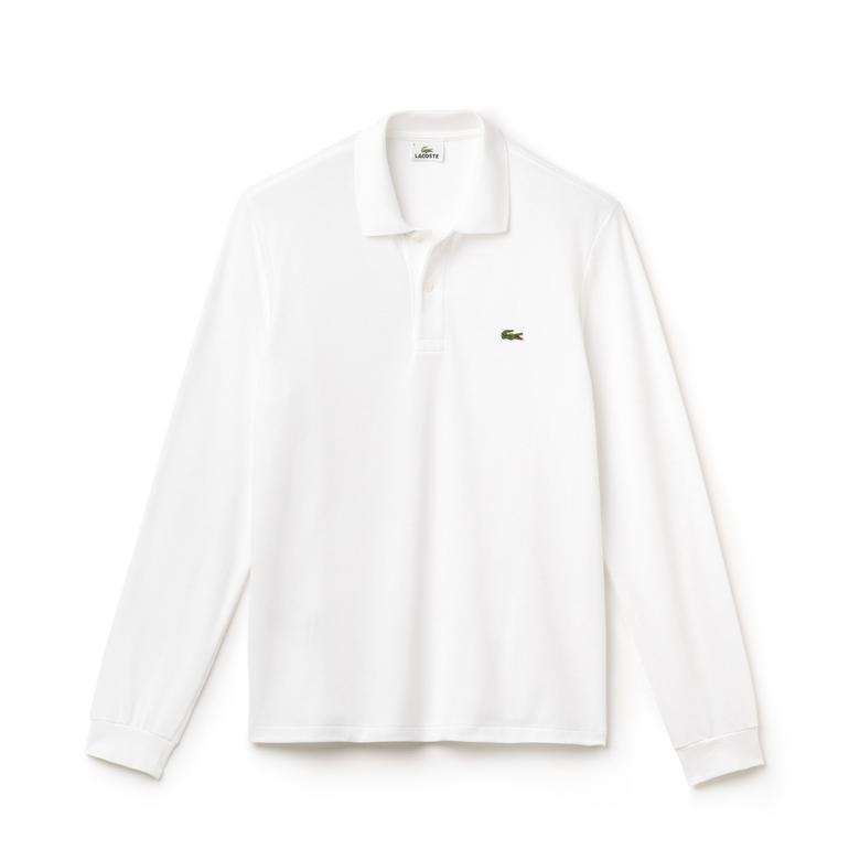 Lacoste Erkek Klasik Fit Uzun Kollu Beyaz Polo