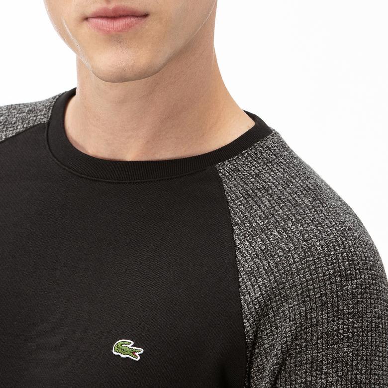 Lacoste Erkek Siyah Uzun Kollu Blok Desenli T-Shirt