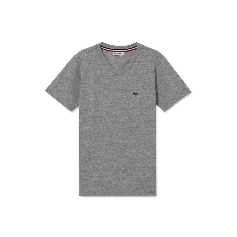 Lacoste Çocuk Gri V Yaka T-Shirt