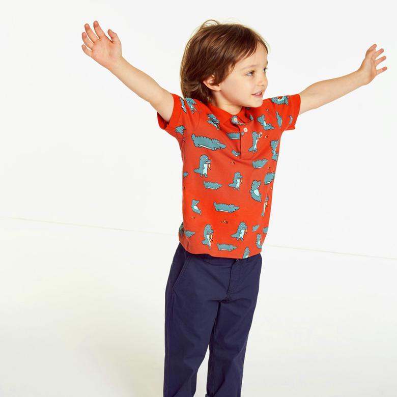 Lacoste Çocuk Desenli Kırmızı Polo