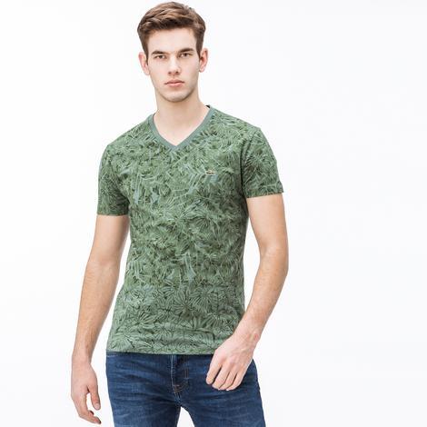 Lacoste Erkek V Yaka Desenli Yeşil T-Shirt