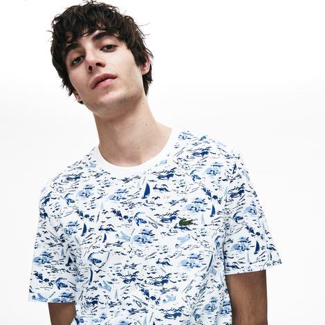 Lacoste Erkek Beyaz Desenli T-Shirt