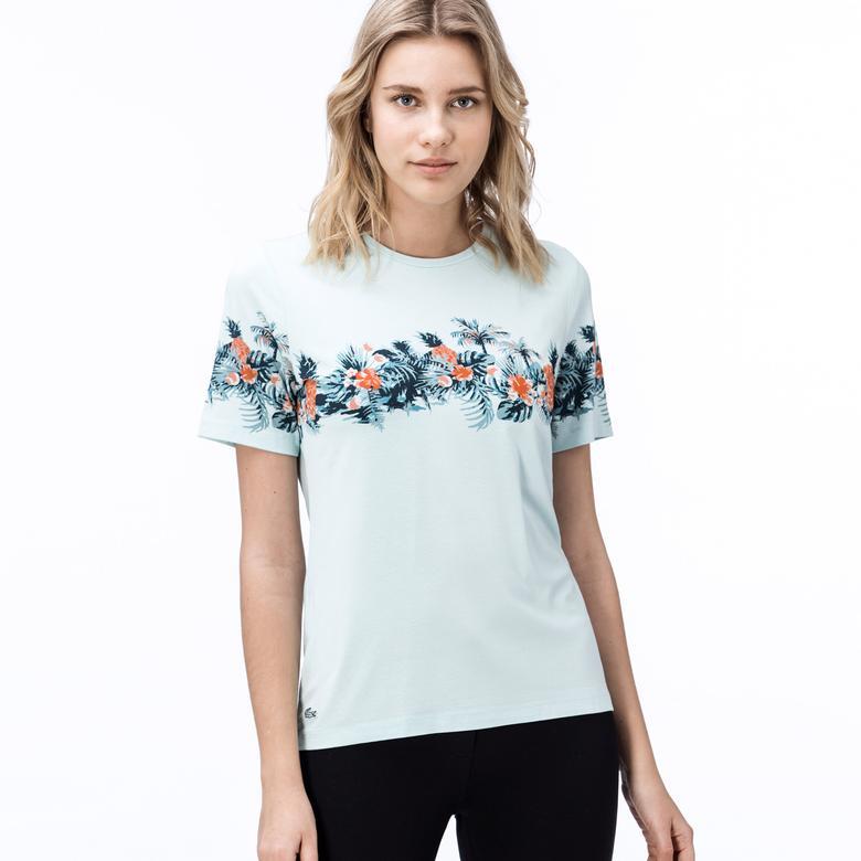 Lacoste Kadın Çiçek Desenli Mint Yeşili T-Shirt