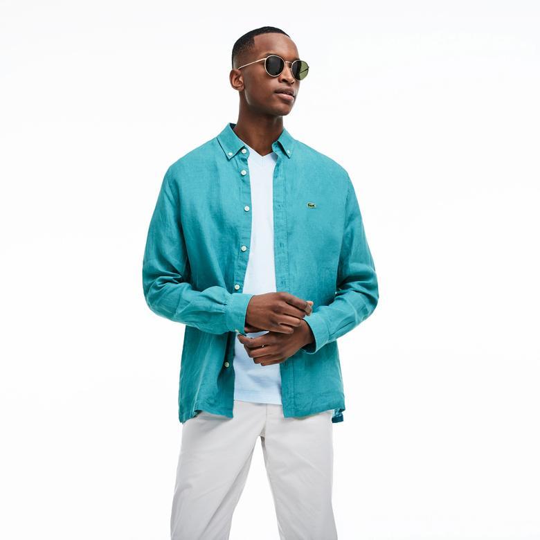 Lacoste Erkek Regular Fit Keten Mavi Gömlek