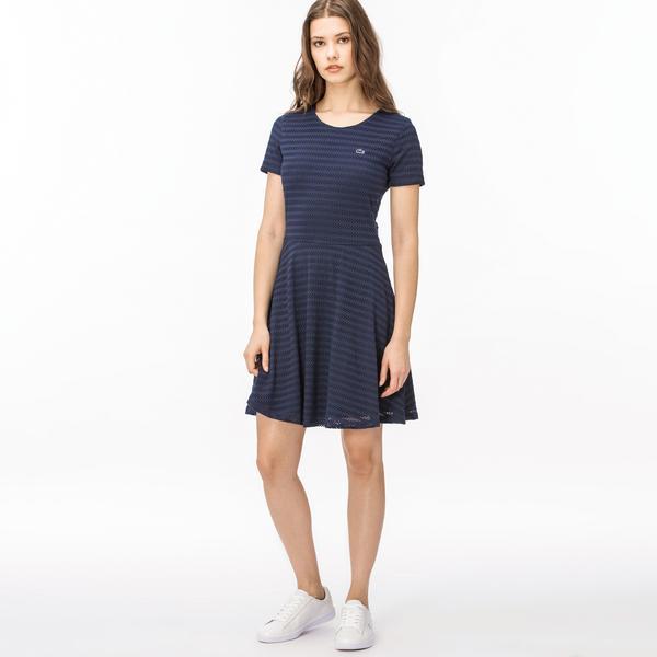 Lacoste Kadın Çizgili Lacivert Elbise