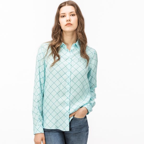 Lacoste Kadın Kareli Yeşil Gömlek