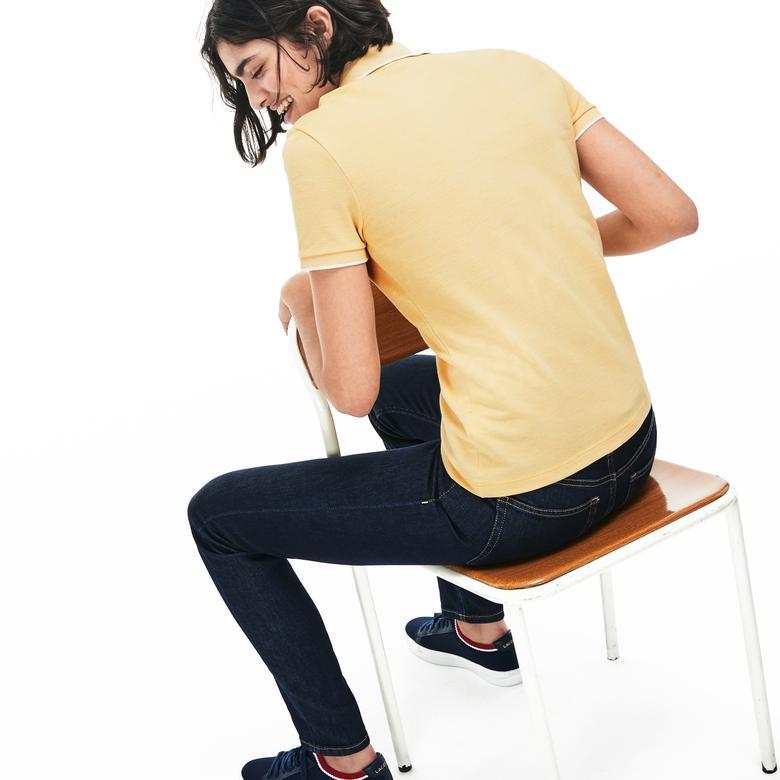 Lacoste Kadın Slim Fit Sarı Kısa Kollu Polo
