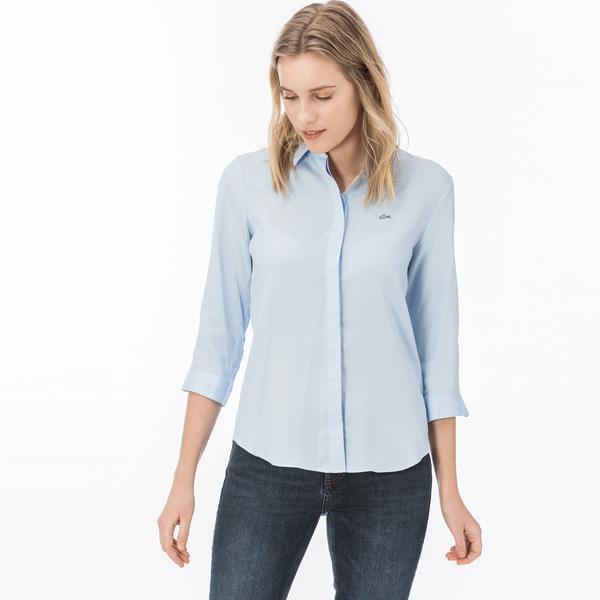 Lacoste Kadın Regular Fit Mavi Gömlek