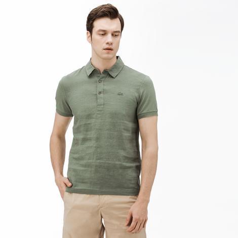 Lacoste Erkek Slim Fit Keten Yeşil Polo
