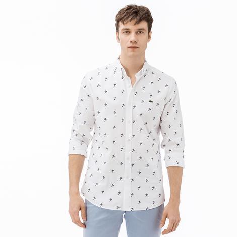 Lacoste Erkek Slim Fit Beyaz-Lacivert Desenli Gömlek