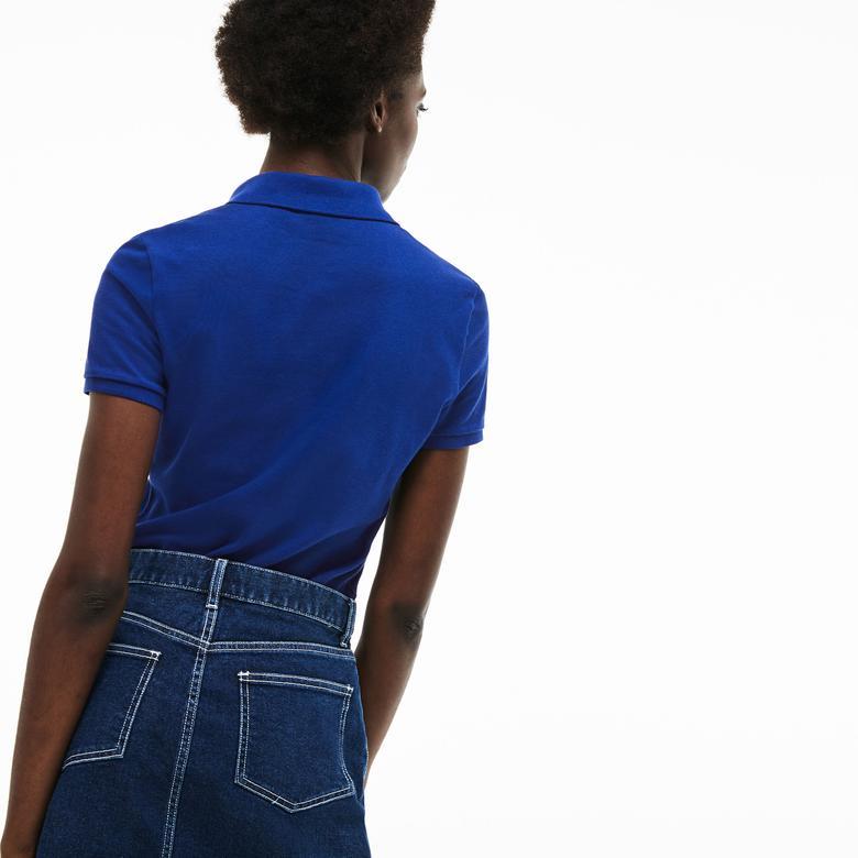 Lacoste Kadın Slim Fit Lacivert Kısa Kollu Polo