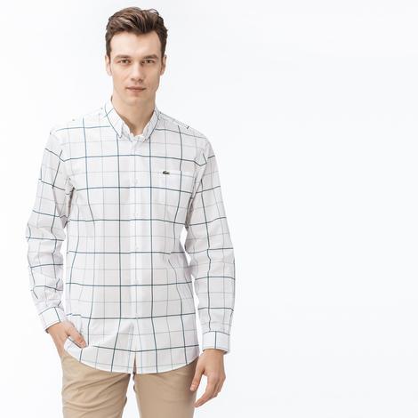 Lacoste Erkek Regular Fit Beyaz Yeşil Çizgili Gömlek