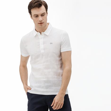 Lacoste Erkek Slim Fit Keten Beyaz Kısa Kollu Polo