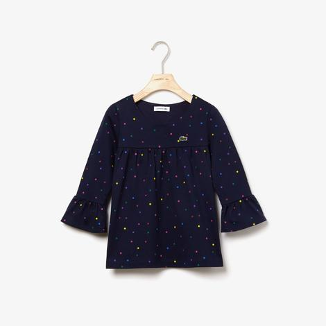 Lacoste Çocuk Lacivert Uzun Kollu Puantiye Desenli Lacivert T-Shirt