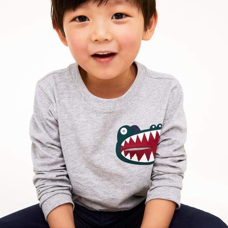 Lacoste Çocuk Timsah Baskılı Uzun Kollu Gri T-Shirt