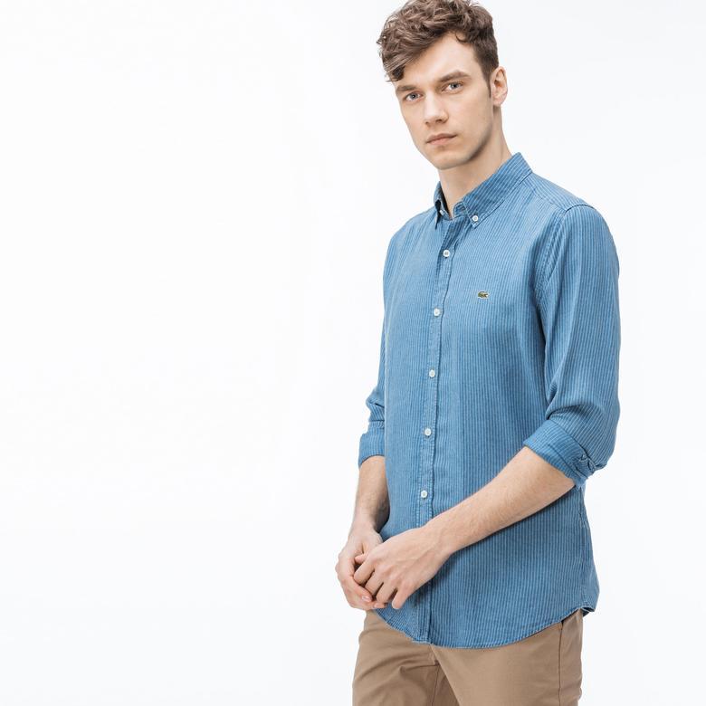 Lacoste Erkek Slim Fit Çizgili Mavi Gömlek