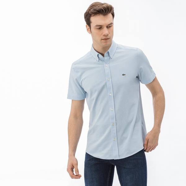 Lacoste Erkek Slim Fit Mavi Gömlek Kısa Kollu Polo