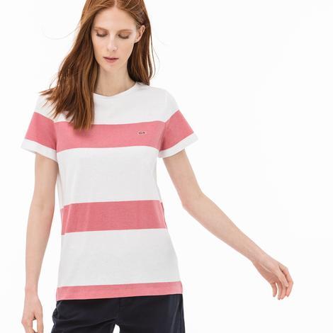 Lacoste Kadın Çizgili Beyaz-Kırmızı T-Shirt