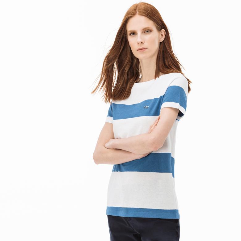 Lacoste Kadın Çizgili Mavi-Beyaz T-Shirt