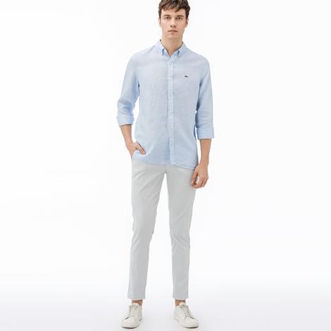 Lacoste Erkek Slim Fit Çizgili Beyaz Pantolon