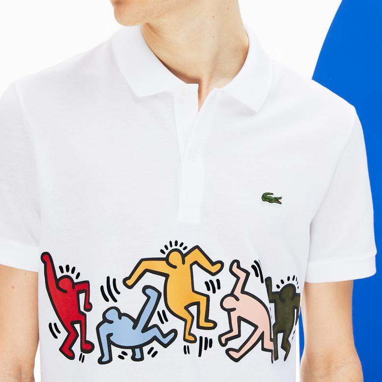Lacoste X Keith Haring Erkek Regular Fit Beyaz Kısa Kollu Polo