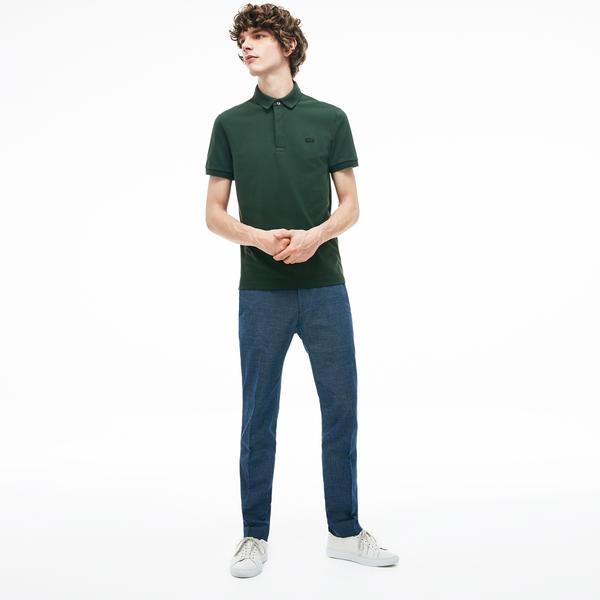Lacoste Erkek Slim Fit Mavi Keten Pantolon